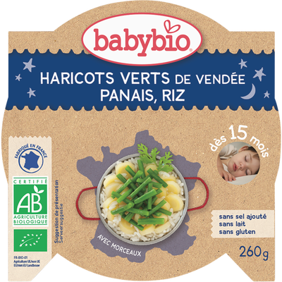 Assiettes haricots verts de Vendée Panais & riz BABYBIO, dès 15 mois, 260g