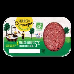 Steak haché, 5% MAT.GR, BIO, Sourire de campagne, France, lot 2X250g