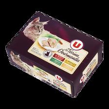 Terrines gourmandes pour chat au boeuf ,carotte, poulet et canard,légume, thon, tomate U, 12 unités de 85g