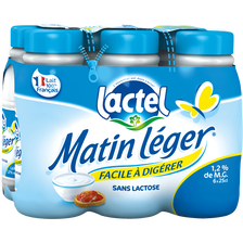 Lait UHT Matin Léger de LACTEL, 6 bouteilles de 25cl