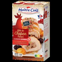 Rôti de chapon cuit farce pommes, pruneaux et lardons fumés, MAITRE COQ, France, 1 pièce, Etui, 700g