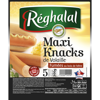 Maxi knacks volaille halal REGHALAL x5 s/v 300g  vide