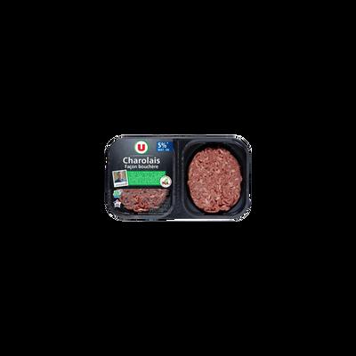 Steak haché, 5% MAT.GR, U NA, charolais, France, 2 pièces, 250g