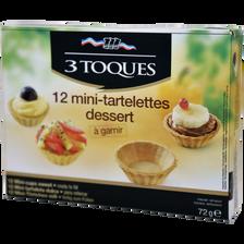 Mini tartelettes dessert à garnir 3 TOQUES, 12 unités, 72g