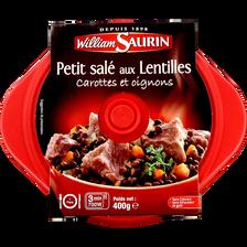 Cocottes petit salé aux lentilles carottes et oignons WILLIAM SAURIN,barquette micro-ondable, 400g