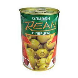 Olives vertes farcies aux poivrons rouges, REAN, Conserve de 110G