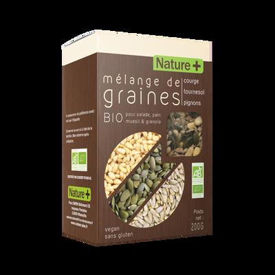 Mélange de graines coruge tournesol & pignons BIO NATURE + 200g