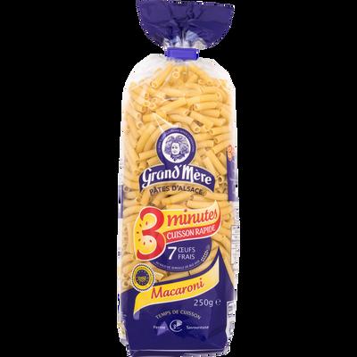 Macaroni cuisson rapide 3 minutes GRAND'MERE, sachet de 250g