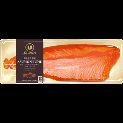 Filet de saumon fumé à la ficelle salage au sel U SAVEURS, 700g