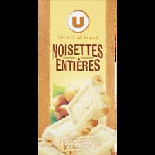 Chocolat blanc et noisettes entières U, tablette de 200g