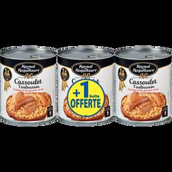 Cassoulet Toulousain cuisiné graisse d'oie RAYNAL&ROQUELAURE, 2 boîtesde 840g + 1 offert