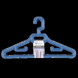 Cintres en plastique avec crans anti glisse U MAISON, coloris assortis: bleu, jaune, vert, lilas, 3 unités