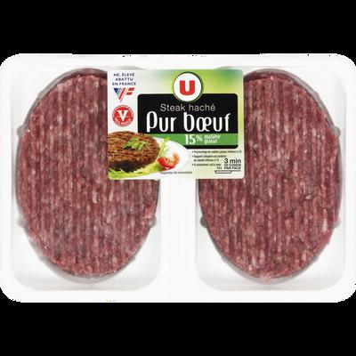 Steak haché, 15% MAT.GR., U, France, VBF, 100% muscle, 2 pièces, 250g