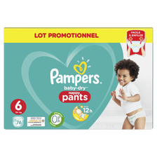 Pampers Couches Baby Dry Pants Taille 6, +15kg Extra Large , X76