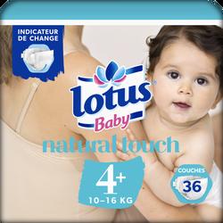 Couches LOTUS BABY, taille 4+, 10 à 16 kg, 36 unités