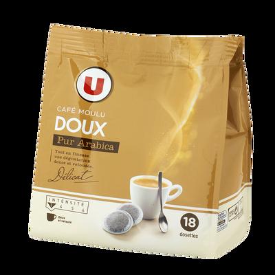 Café doux U, 18 dosettes de 125g