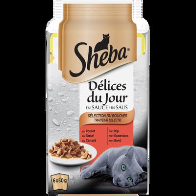 SHEBA, délices du jour sélection viandes sachet fraîcheur, 6x50g