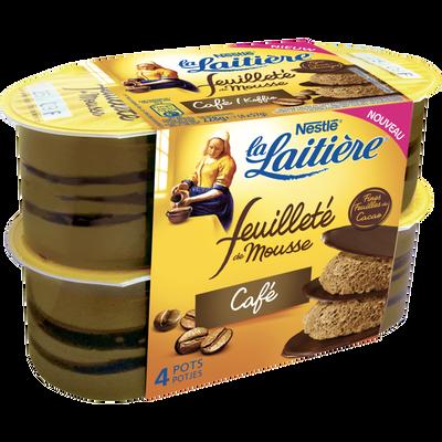 Mousse lactée au café arômatisée et fines feuilles de cacao avec sucres et edulcorants LA LAITIERE, 4x57g