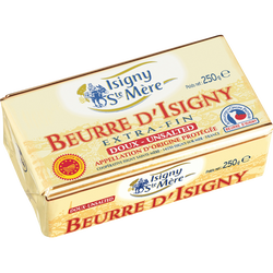 Beurre doux 82%mg, AOP ISIGNY STE MERE plaquette 250g