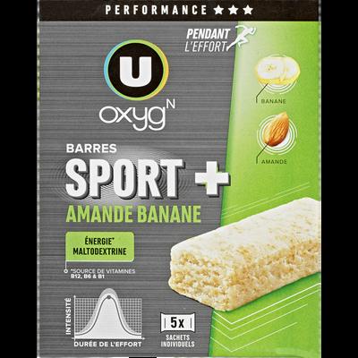 Barres sport+ amande et banane U OXYGN, boîte de 125g
