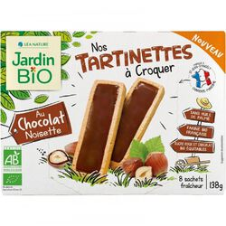 Tartinettes chocolat noisette x8, JARDIN BIO, paquet de 138g