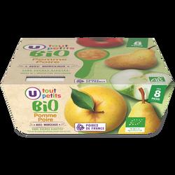 Pots pour bébé dessert pomme et poire avec morceaux Tout Petits Bio U,dès 8 mois, 4x100g