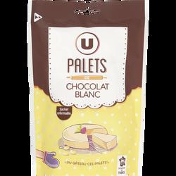 Palets chocolat blanc U, sachet de 200g