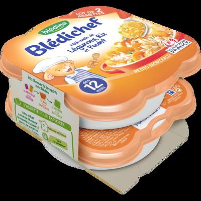 BLEDICHEF assiette pour bébé petits légumes, riz et poulet BLEDINA , dès 12 mois, 2x230g
