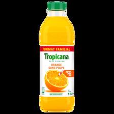 Pur jus d'orange sans pulpe TROPICANA, bouteille de 1,5 litre