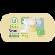 Beurre demi sel de baratte U BIO, 250g