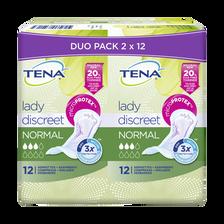 Serviette pour incontinence normal discreet TENA LADY, 2 paquets de 12unités