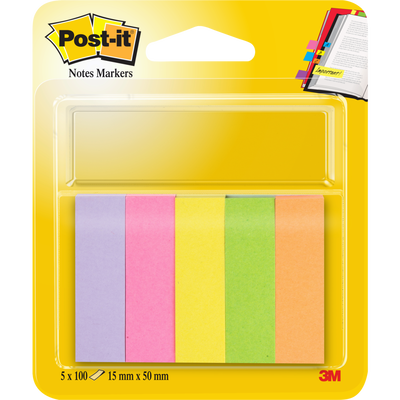 Note Markers POST-IT, 15x50mm, 5 coloris néons assortis