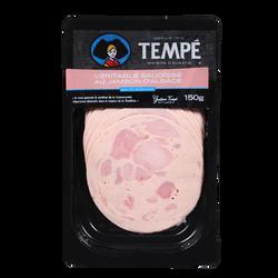 Véritable saucisse au jambon d'Alsace supérieure, TEMPE, tranches fines, 150g