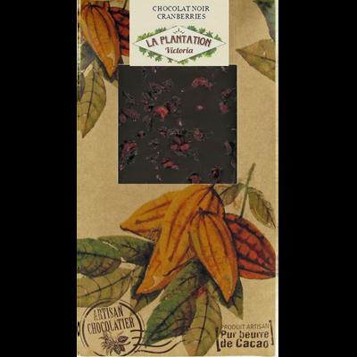 Chocolat noir cranberries, LA PLANTATION BOVETTI, tablette de 80g