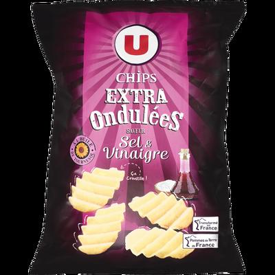 Chips extra ondulées saveur sel et vinaigre U, sachet de 120g