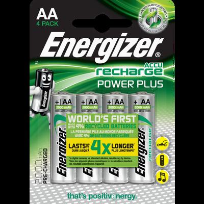 Piles préchargeables ENERGIZER, power plus, HR6 2000mah, 4 unités