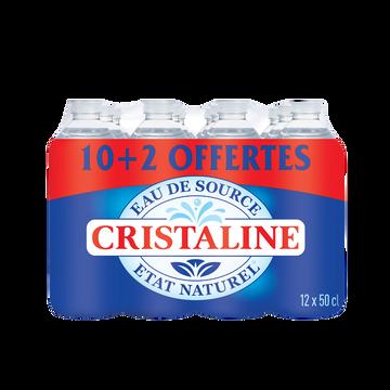 Cristaline Eau De Source Cristaline, 10x50cl + 2 Offert