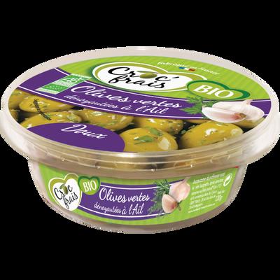 Olive verte dénoyautée à l'ail, BIO, CROQ'FRAIS, barquette 120g