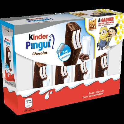Goûter au lait et chocolat KINDER Pingui, 8x30g