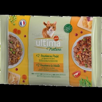 Bouchées pour chat au poulet et à la volaille ULTIMA NATURE, 4 étuis de 85g