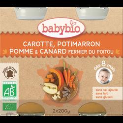 Pot carotte potimarron pomme canard BABYBIO, 2x200g