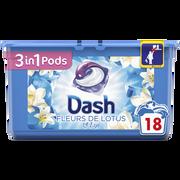 Dash Lessive Pods Fleur De Lotus&lys Dash 3en1, X18 Soit 475,2g
