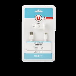 KIT CHARGEUR VOITURE U+CABLE USBC