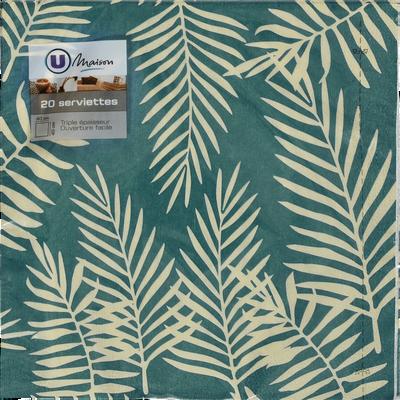 Serviettes U MAISON, 3 plis, herbier exotique, 40x40cm, 20 unités
