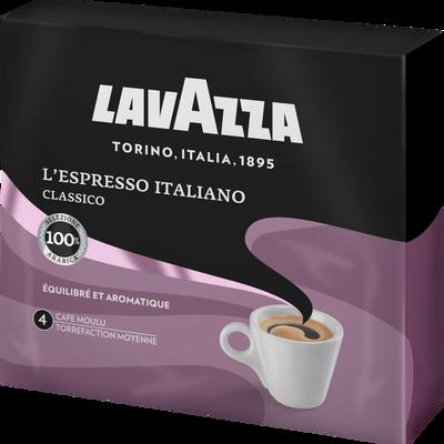 Café moulu L'espresso italiano LAVAZZA, 2 paquets de 250g soit 500g