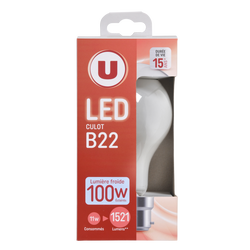 Led U, ronde, 100w, b22, opaque, lumière froide