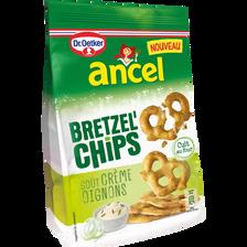 Bretzel'chips goût oignon et crème fraîche ANCEL, sachet de 100g