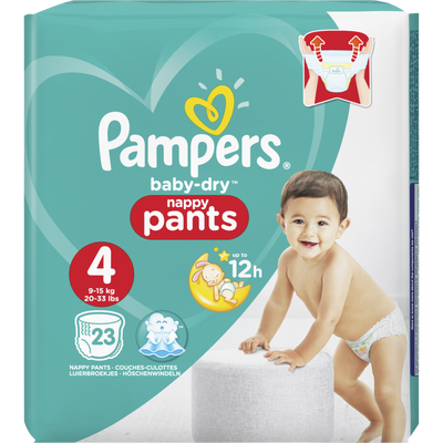 Couches baby dry pants taille 4, 9 à 14kg PAMPERS, paquet de 23