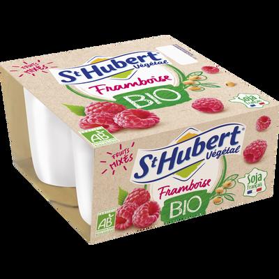 Spécialité fermentée au soja, sucrée à la pulpe framboise, saveur framboise bio ST HUBERT végétal 4x100g