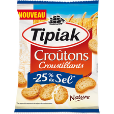 Croûtons nature -25% sel TIPIAK, sachet de 80g
